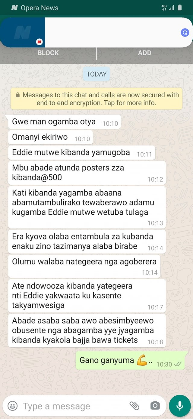 Whatsapp conversation confirming the sacking of Mutwe