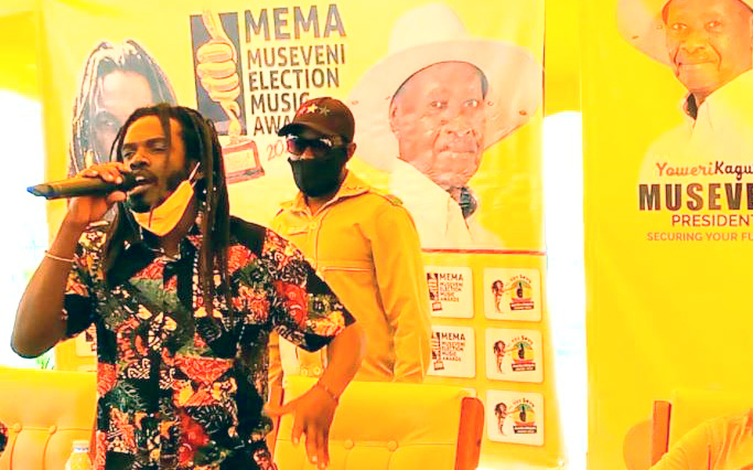 Buchaman addresses guests during the launch of the Museveni Election Music Awards that was held at the NRM Secretariat in Nakasero on Monday.