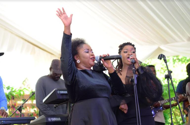 Joanita Kawalya performs at the Uganda Breweries Limited 75th anniversary celebrations launch held at Seven Trees gardens in Kololo.