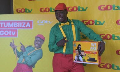 Comedian Dickson Ssentongo alias Zzinzinga, the GOtv brand ambassador poses for a photo at the announcement of GOtv's new offer.
