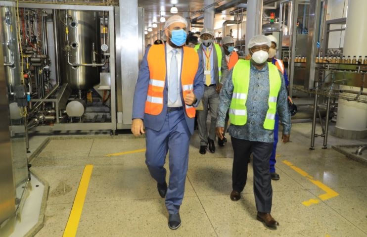 Delegates from the Ministry of Labour, Gender and social development tour Hariss International plant.