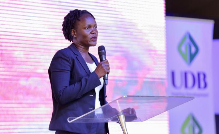 Patricia Ojangole, the Chief Executive Officer of Uganda Development Bank addresses guests at the business forum that was held at Watoto Church hall in Gulu city on Friday.