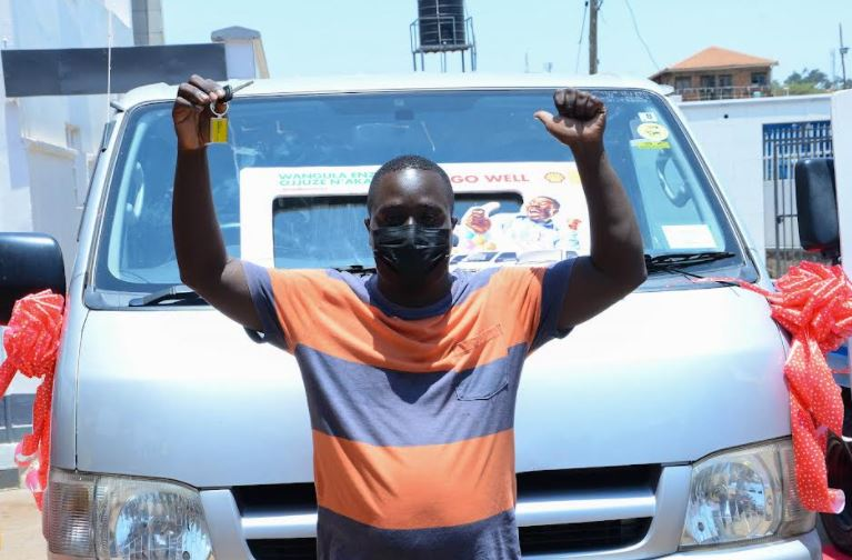 Ronald Bogere, the first Toyota Hiace Drone winner for the ongoing Juuza Akameeza promotion