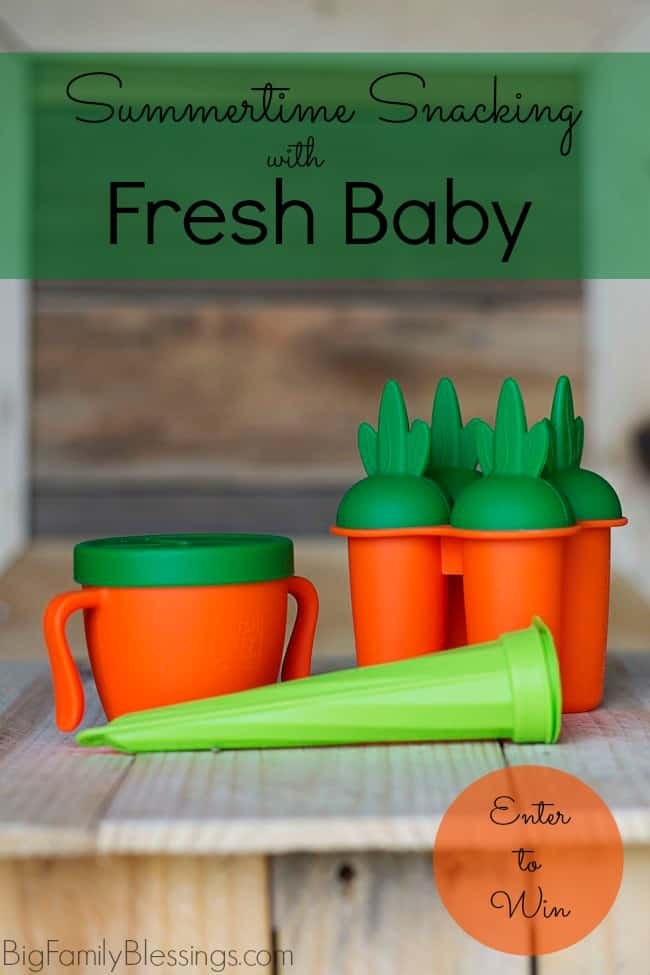 These three great products from Fresh Baby that make healthier summer time snacking fun and easy- So Easy Snack Cup, So Easy Pop Maker and Pop Maker/Snack Pouch. Make sure to enter the giveaway at the end of this post to win all three summer snacking products from Fresh Baby for your little one!