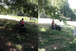 Lawnmower – zero, Momma – two