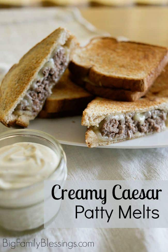 Creamy Cesar Patty Melts... emphasis on the creamy and DELICIOUS! This quick and easy 5 ingredient recipe is perfect for lunch when you want something more grown up than a PB&J sandwich or when you are tired of leftovers.