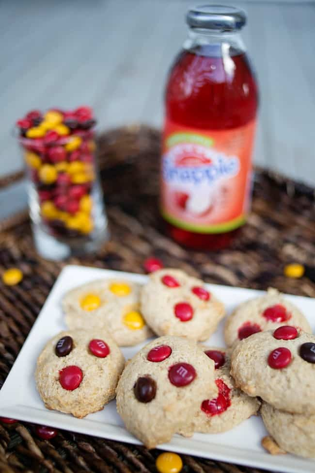 Cinnamon Roll M&M cake mix cookies. With just 4 ingredients these are perfect for a quick fall treat!