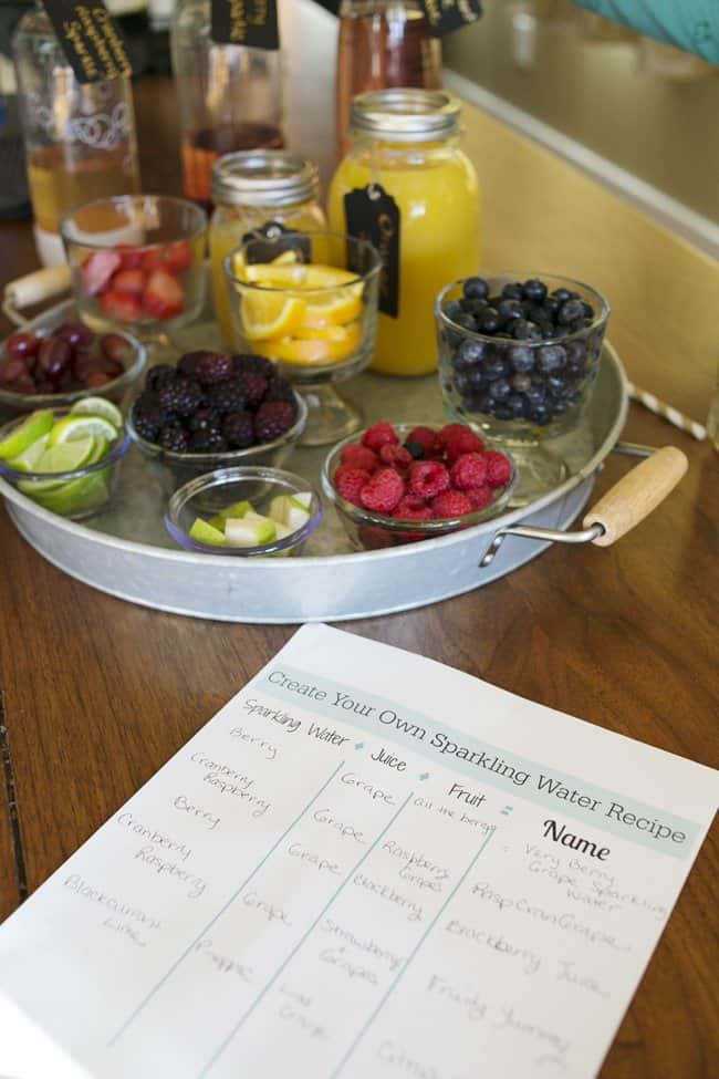 Create a DIY Sparkling Water Flavor Station complete with a printable for ultimate experimentation!