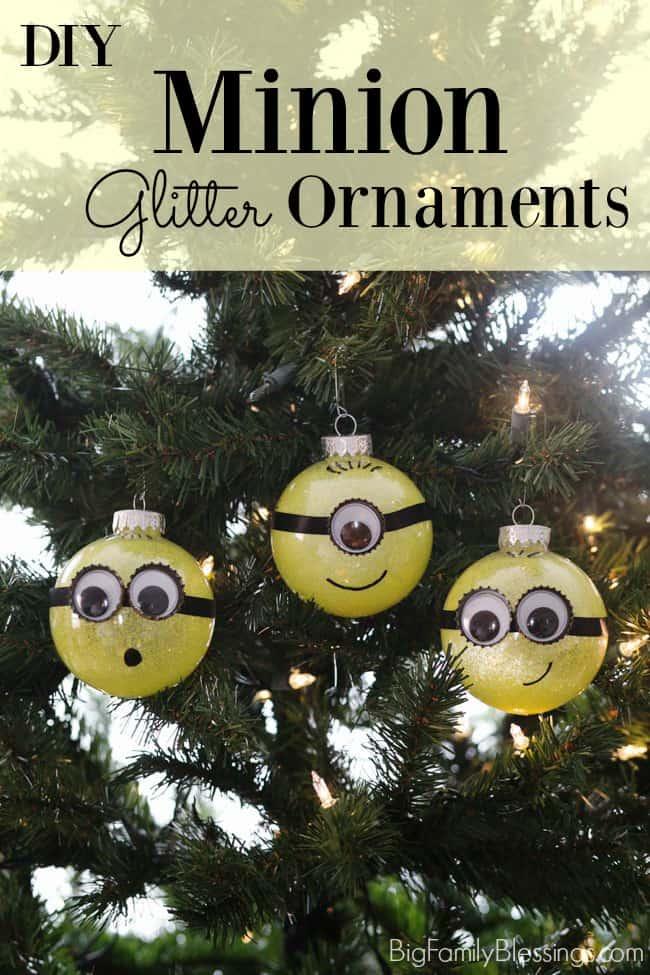 DIY Glitter Minion Ornament
