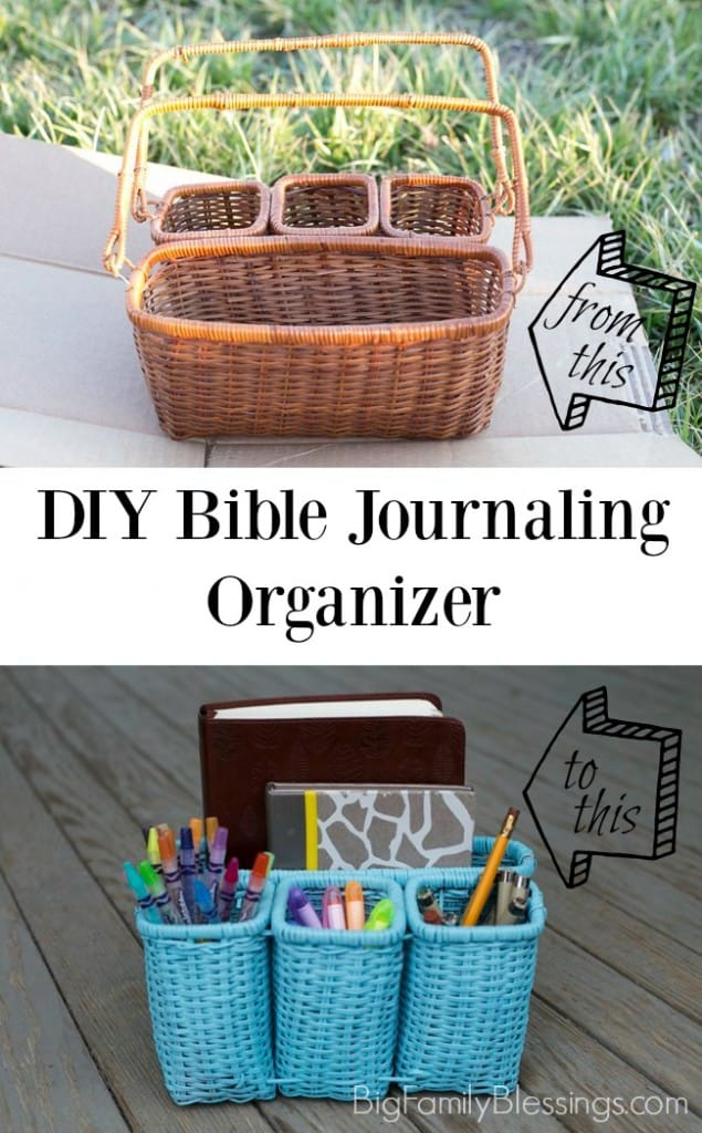 Easy DIY Bible Journaling organizer perfect for thrift store or yard sale find!