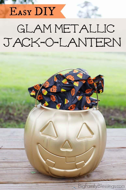 Easy DIY Glam Metallic Jack-o-Lantern