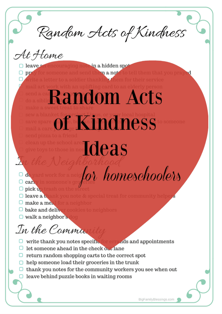 Random Acts of Kindness for Homeschoolers