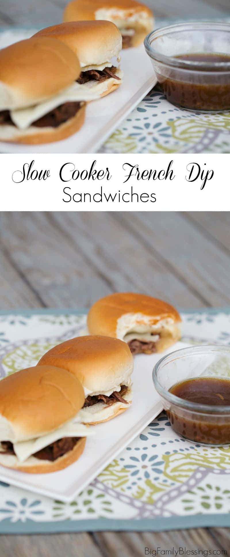 Slow Cooker French Dip Sandwiches. Perfect easy, hearty meal for a cold day.