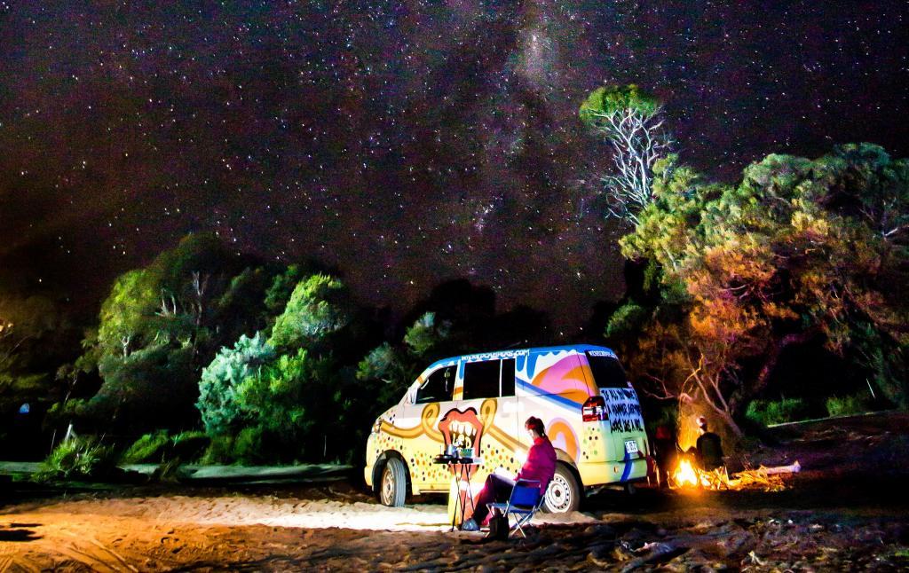 Campervan under the stars in Tasmania