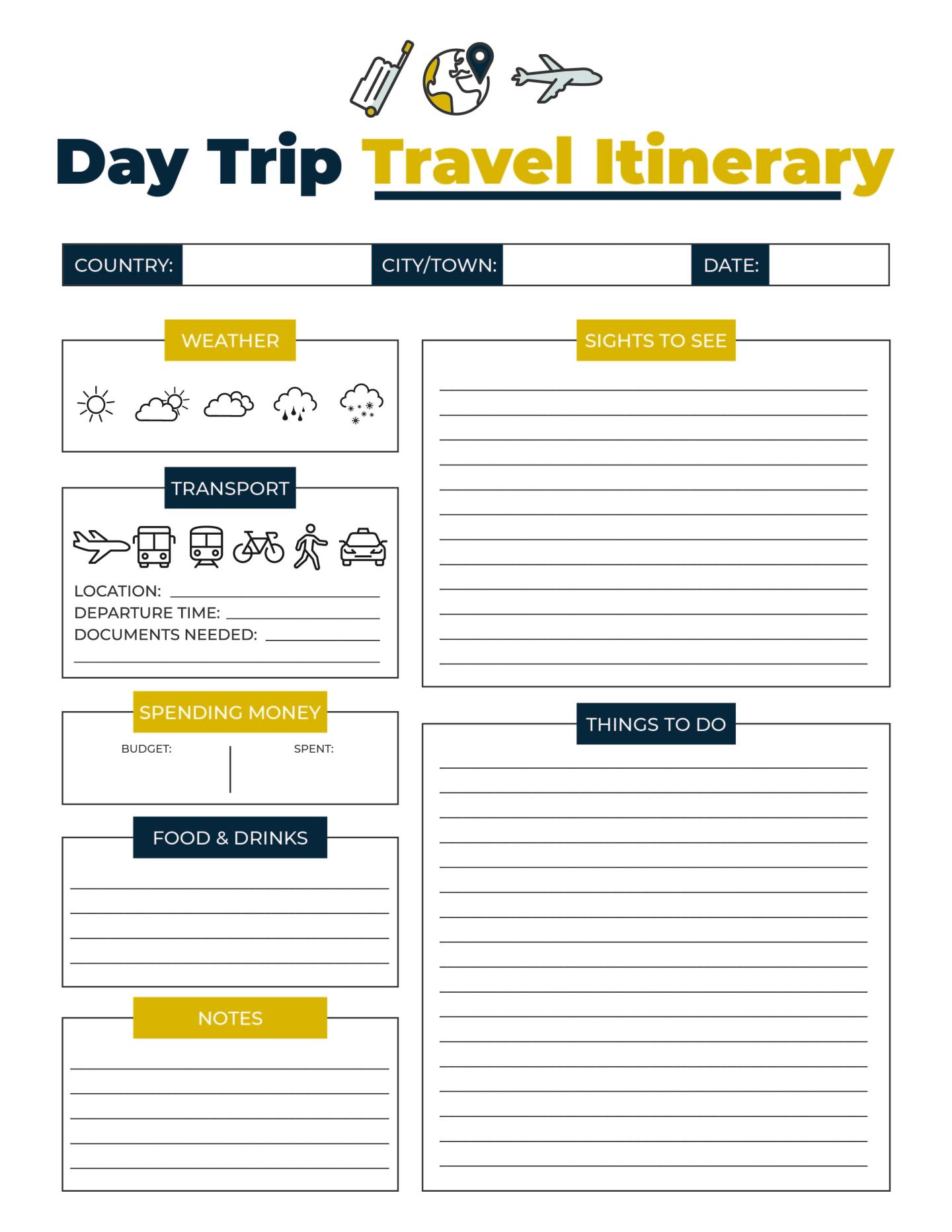 Day Trip Travel Printable