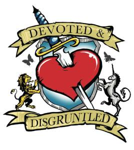 devoted and disgruntled logo - a red heart with a dagger through the centre. A lion and a unicorn are holding either side of the heart.
