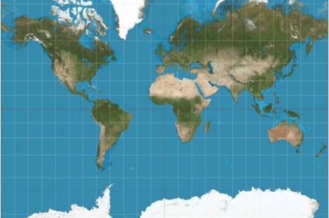 চিত্রঃ বহুল ব্যবহৃত মার্কেটর প্রজেকশন ম্যাপ। ছবিঃ Strebe/Wikimedia Commons
