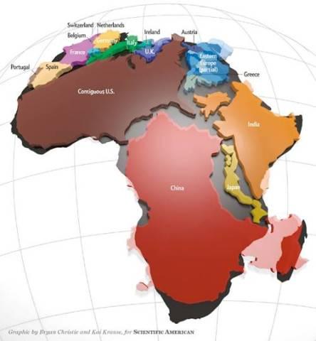 অন্যান্য দেশের তুলনায় আফ্রিকা মহাদেশের সত্যিকার আকার। আফ্রিকার ভেতর অনেকগুলো বড় বড় দেশ এঁটে যাবে। ছবিঃ সায়েন্টিফিক আমেরিকান।