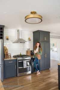 Kitchen Reveal with Dark Cabinets and Open Shelving ...