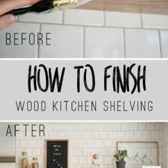 Wood Shelves Kitchen Mini Island Diy Open Shelving Guide Bigger Than The Three Of Us Floating How To Finish