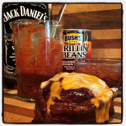 Beer Can Burgers topped with Jack'D Up Brotherhood Sauce served with Bush's Grilling Beans