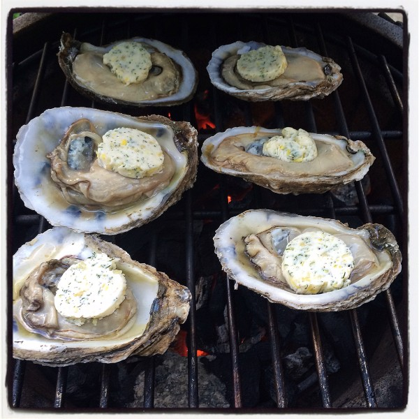 Oysters on the Big Green Egg with medallions of compound butter
