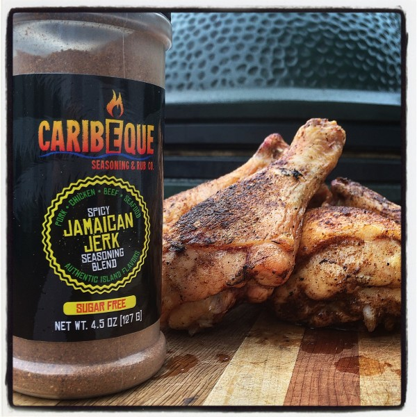 Caribeque Spicy Jamaican Jerk Seasoning on some nice big chicken drum sticks
