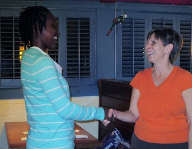 Shaking hands with Teressa, our club Vice President (and my mentor) after I spoke.
