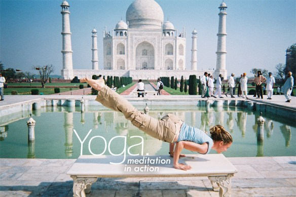 While in India for a YouthAIDS trip with actress Ashley Judd, Seane Corn poses in the Eka Pada Koundiyanasana position in front of the Taj Mahal. (photo: courtesy of Seane Corn)