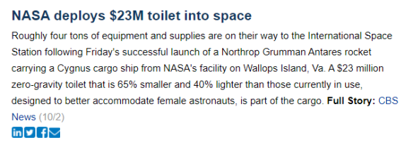 Geniuses, a better toilet in space and more