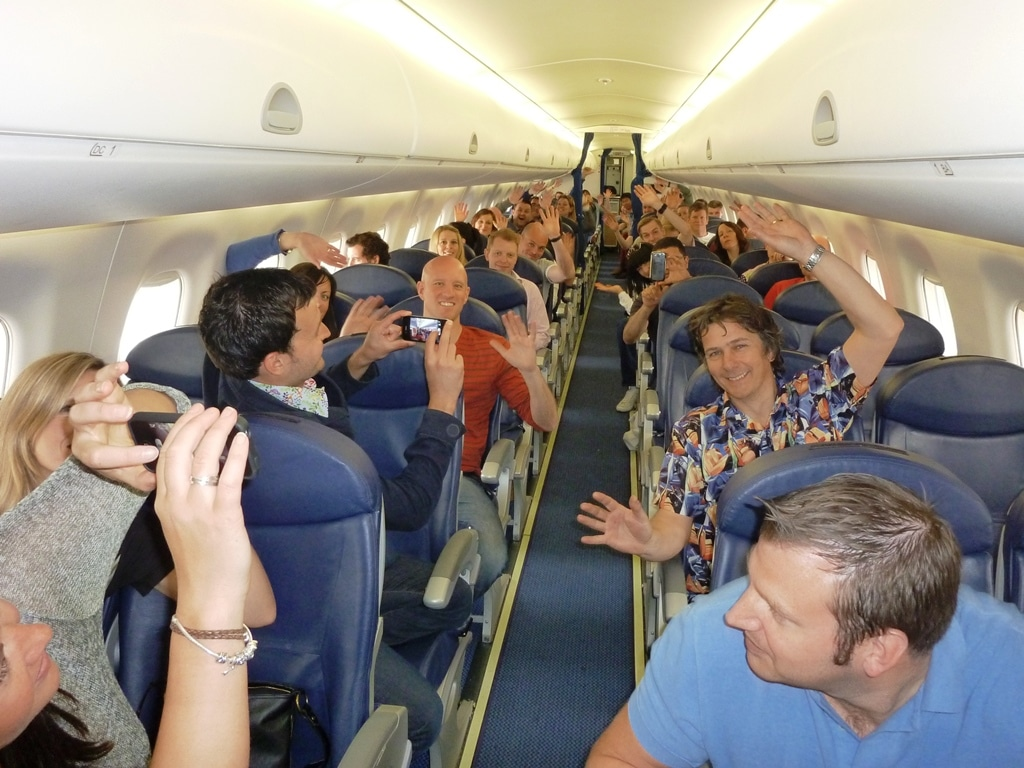 We won a plane group shot
