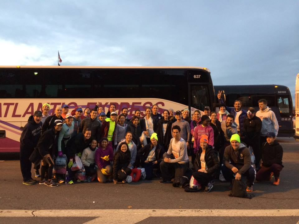 All smiles on Staten Island as Team 'Every Mother Counts' disembark the team bus and make our way to the start.