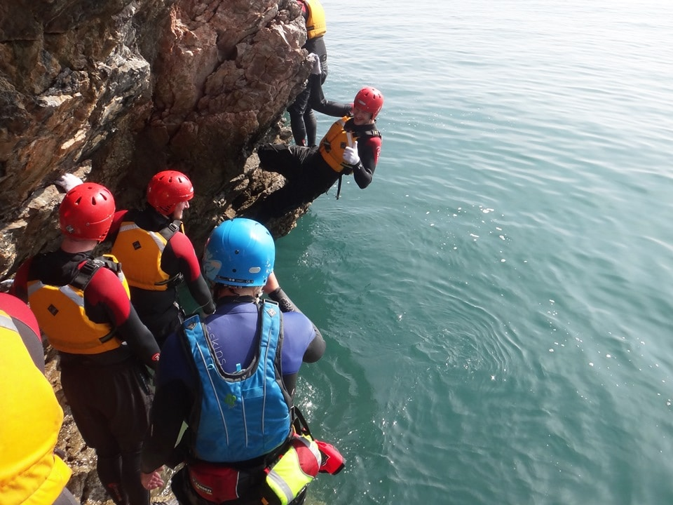 What is coasteering? A bit of rock traversing to get us warmed up!