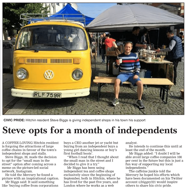 Campervan Coffee Newspaper Article