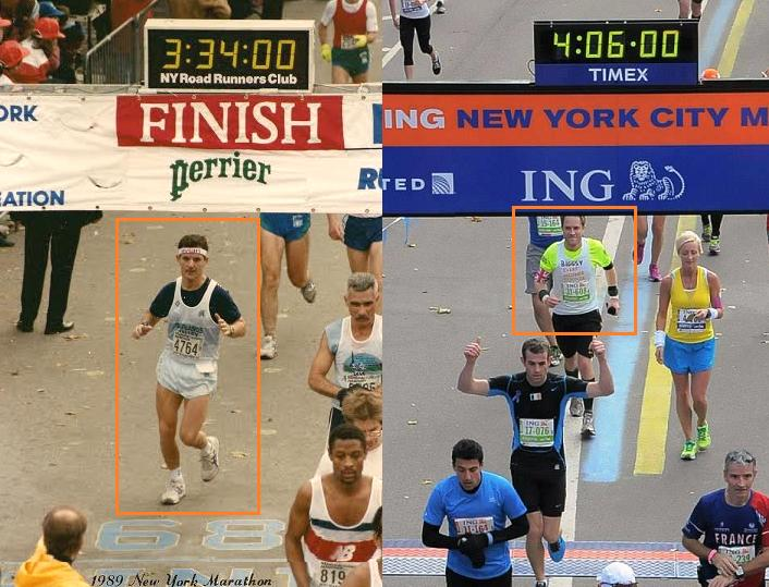 My dad finishing the NYC Marathon in 1989 and me 24 years later!