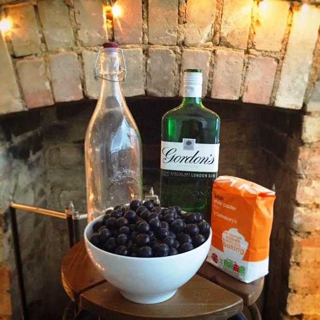 Sloe gin ready to be made