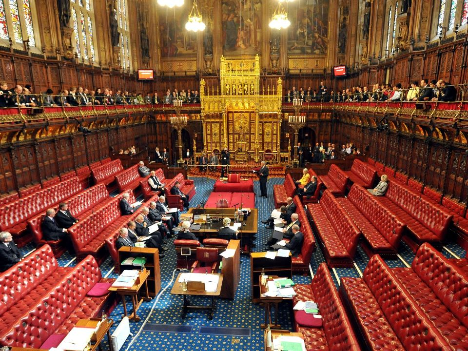 House of Lords in the Palace oif Westminster