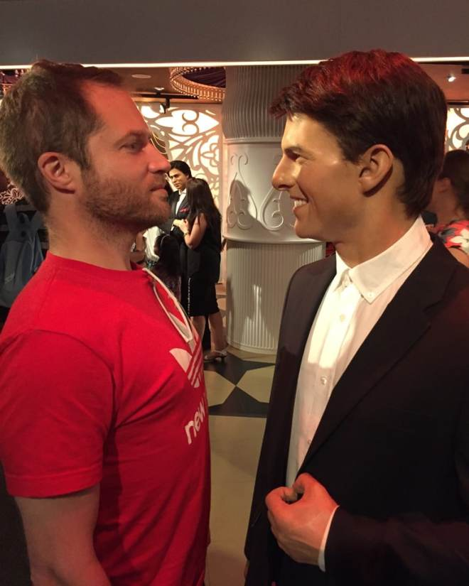 Checking out if I'm taller than Tom Cruise