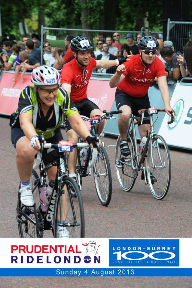 "Being ""photobombed"" on the line as we finished the inaugural RideLondon100 bike ride - 2013"