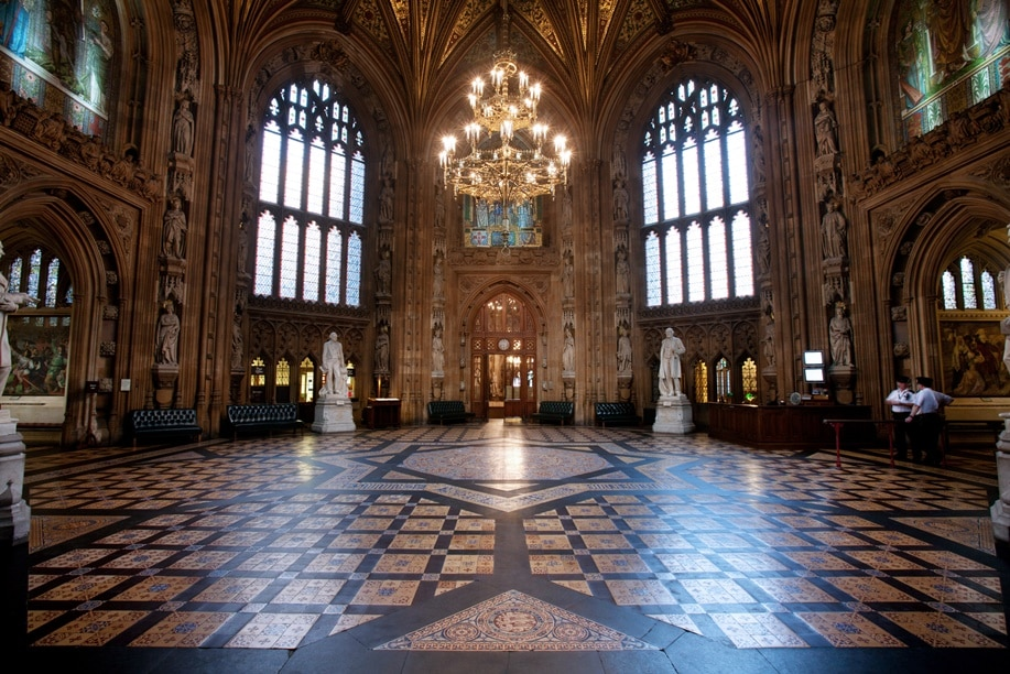 Central Lobby with the House of Commons entrance on the right