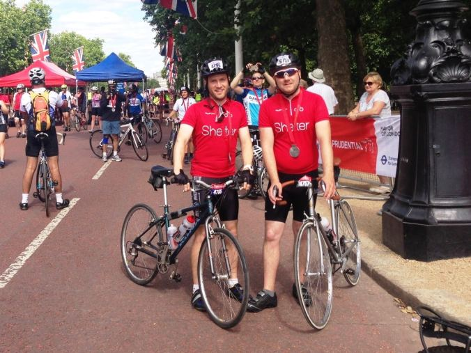 Our first post-finish photo along The Mall