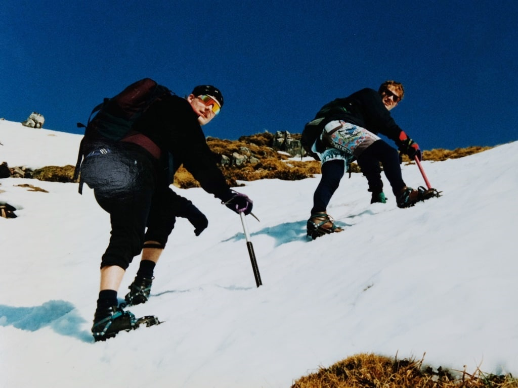 Making our way up Ben Nevis with our crampons on
