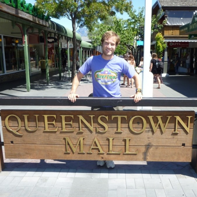 Queenstown Mall. A rare occasion. A big sign at knee level