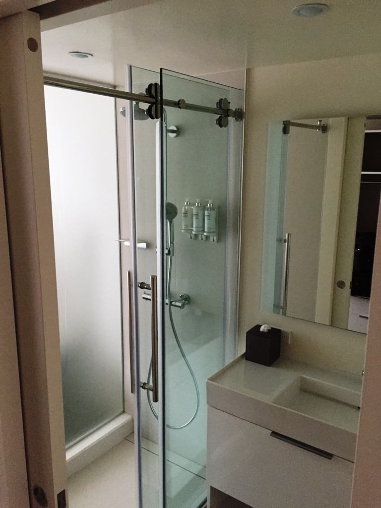 First use of the bathroom and shower