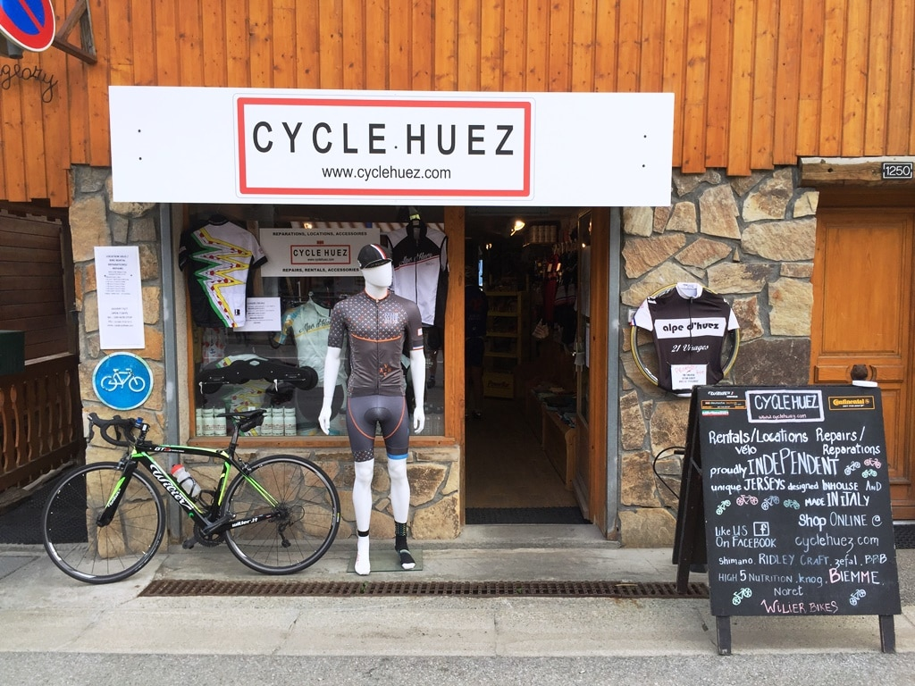 The Cycle Huez hire shop at the 'tourist' finish in Alpe d'Huez