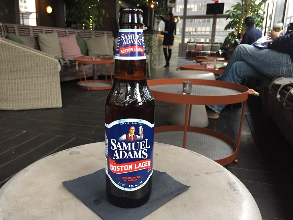 Enjoying a Samuel Adams beer in the PHD roof terrace bar