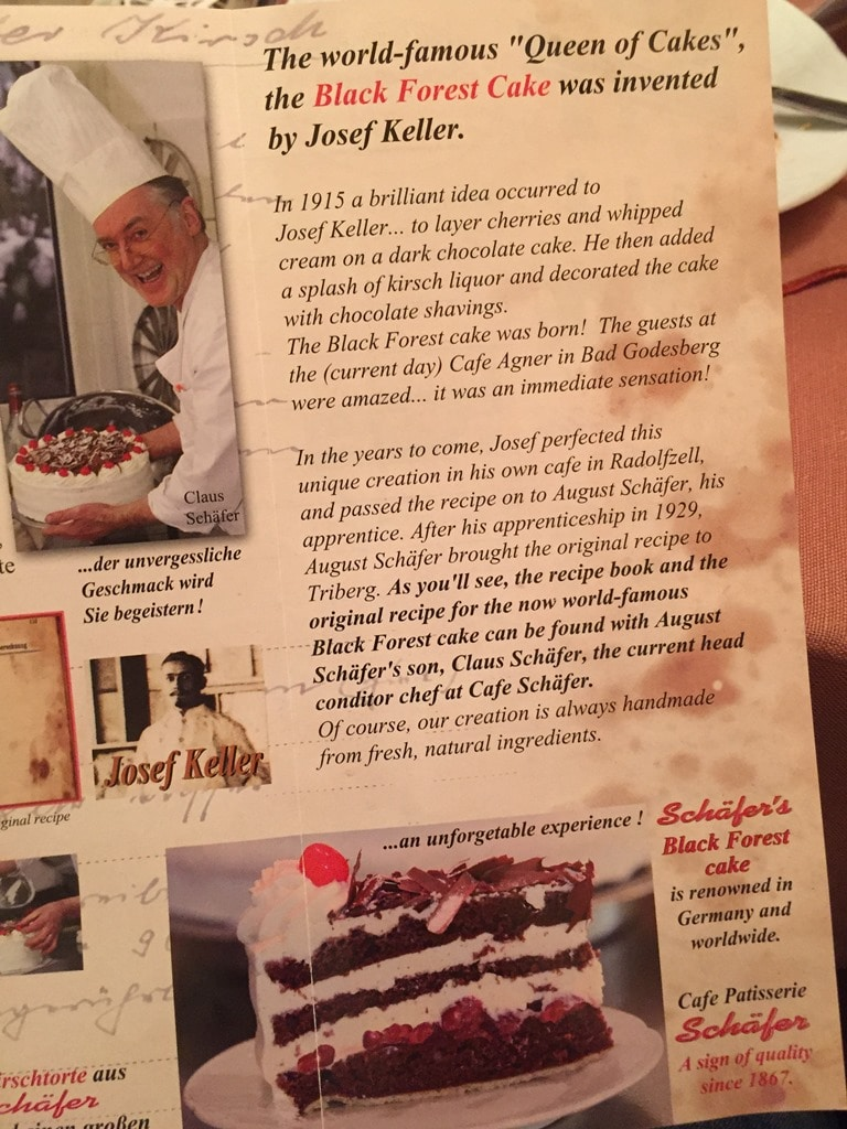 Café Schaefer's Black Forest gateau leaflet