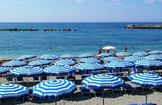 Some Monterosso al Mare parasols. Mine not so symmetrical though