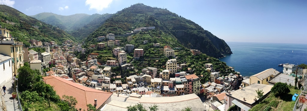 A panoramic view of Riomaggiore from the Castello di Riomaggiore