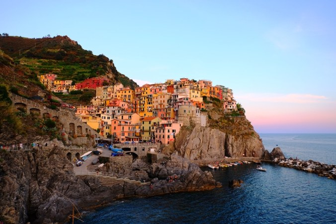 The view of Manarola from the main walkway at sunset